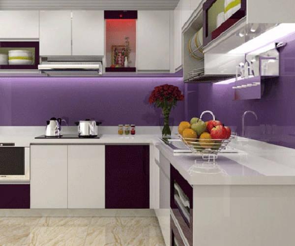 Kính ốp tường nhà bếp màu tím